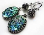 Opal Czech Glass Earrings Green Opal Antique Silver Earrings Opal Earrings Vintage Style Victorian Style Earrings Antique Green Earrings
