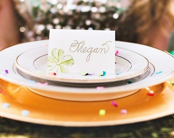 Custom Wedding Place Card with Hand Lettered Calligraphy and Hand Heat Embossing - Invitation Envelope Calligraphy, Menus, Signage