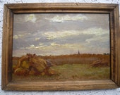 RESERVED TO DAWN.Antique french impressionist painting end 19th very early 20th,oil on wooden panel the harvest,typical french landscape .