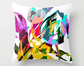 Flower Pillow Cover - Throw Pillow Cover, - Bright Flower Pillow -  Tulips - Decorative  18x18 inch pillow cover - 20 inch pillow - 16 inch