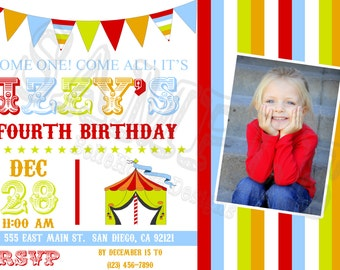 BIRTHDAY INVITATION - Carnival Circus Birthday Party invitation customizable with Photo