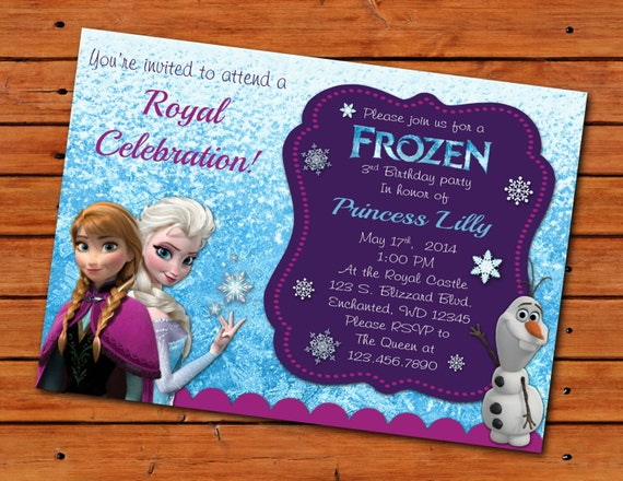 Frozen Themed Invitation 5x7 Printable Digital File