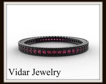 Black Gold Pink Sapphire Microband,Unique Filigree Ring,Unique Wedding Band,Black Gold Wedding Band,Womens Wedding Ring,Stackable Ring
