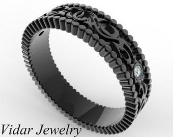 Diamond Wedding Band,14k Black Gold Wedding Ring,Unique Wedding Band,Filigree Ring,Vintage Ring For A Women