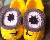 Toddler minion inspired slipper pattern