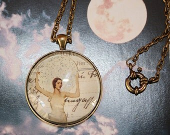 Moon Goddess Glass Pendant Large 1.5 inch Antique Bronze Necklace Jewelry Vintage Pagan White