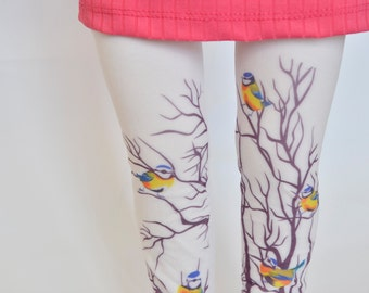 Kids Hand Printed Tights With Tree and Birds , Girls Leggings , Baby Tights , LegWear