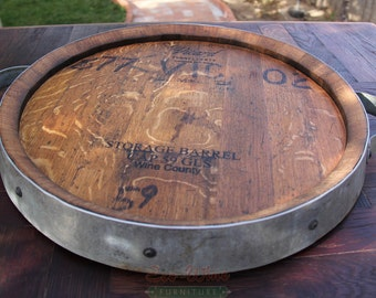 Wine Barrel Lazy Susan, Handmade Small