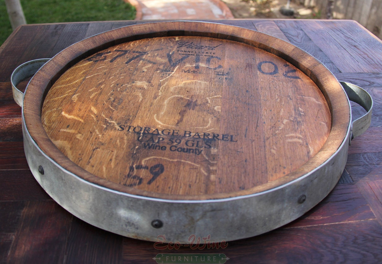 Wine Barrel Lazy Susan Handmade Small