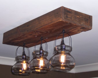 Meghan's Lanterns - Three Lantern Rustic Pallet Wood Chandelier