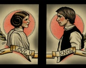 Double Prints Leia and Solo Star Wars Art Print