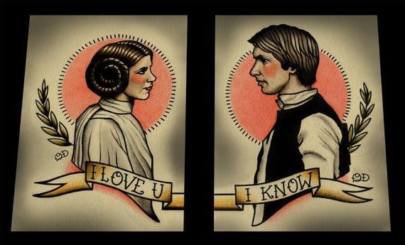 Double Prints Leia and Solo Star Wars Art Print Quyen Dinh Star Wars