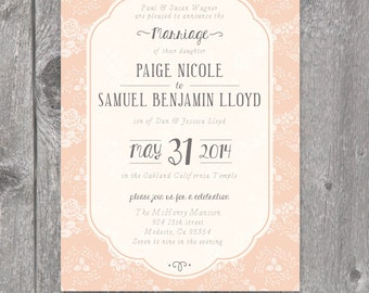 Printable Peach Wedding Invitation