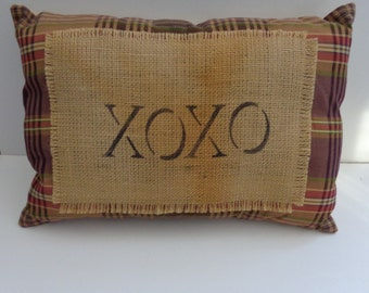 "Whimsical Plaid ""XOXO"" Pillow, Novelty Pillow, Accent Pillow, Love You Pillow"