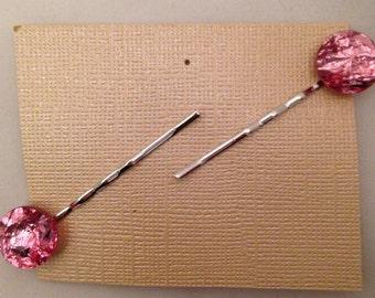 Pink Gem Bobbie Pins, Set of 2