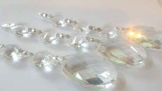3 Asfour Chandelier Crystals Diamond Cut Teardrop Ornaments