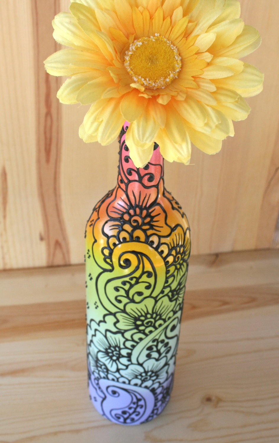 Pastel rainbow colored hand painted wine bottle vase for How to color wine bottles
