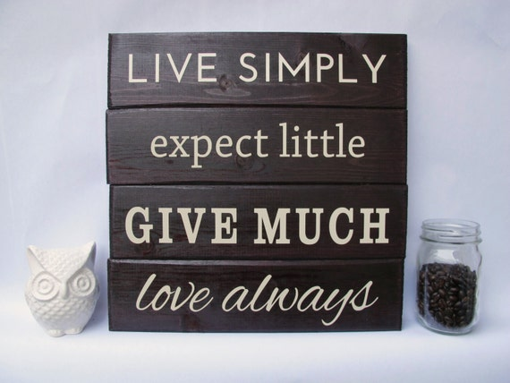 Items similar to live simply wall art wood sign sayings on for Live simply wall art