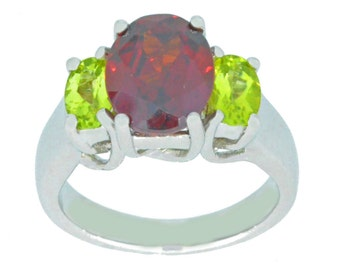 4 Ct Garnet & Peridot Oval Ring .925 Sterling Silver Rhodium Finish