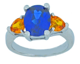 4 Ct Blue Sapphire Oval & Citrine Heart Ring .925 Sterling Silver Rhodium Finish