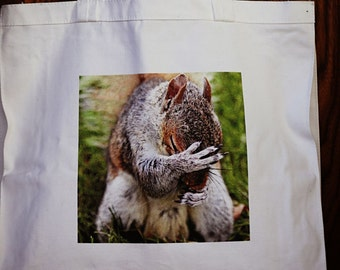 embarrassed squirrel tote bag for her gift cotton fabric