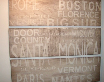 Rustic subway panel sign customized to any cities you choose/home decor