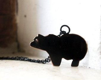Bear totem necklace black oxidized necklace copper silver Black bear necklace  Bear totem pendant necklace