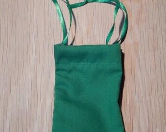 Small Cotton Drawstring Mojo Bag--Green