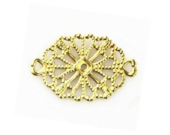 48 PCS of brass two loop filigree connector 12x18mm-1585-raw brass