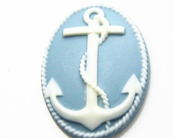 6 pcs of resin anchor cabochon 30x40mm-white and blue