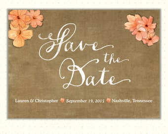 Save the Date Cards, announcement, wedding, invitation, photo, postcard, engagement, vintage, country, digital, printable  - WSD1486