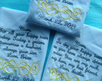 Set of Three Personalized WEDDING HANKIE'S Mother & Father of the Bride Gifts Hankerchief - Hankies