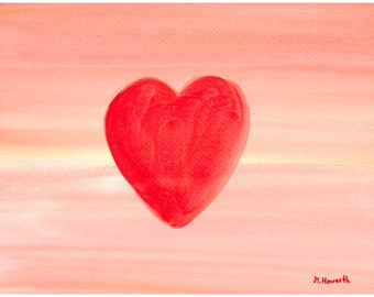 Watercolor painting red heart painting, one of a kind watercolor 12 x 9 inches