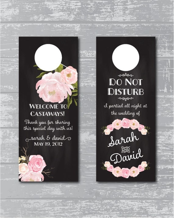 Excellent Peony Flower Wedding Do Not Disturb Sign Door Hanger Double  NM71