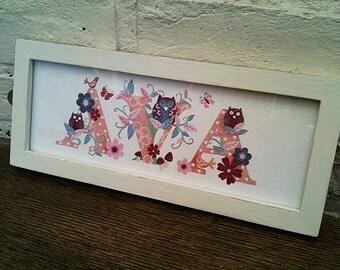Children's / Kids Door Plaque / name sign / Illustration - Owl theme