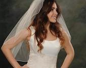 Light Ivory One Layer Bridal Veils Waist Length 30 Inch Long White Pencil Edge Finish 1 Tier Wedding Veils Ivory Illusion 72 Wide