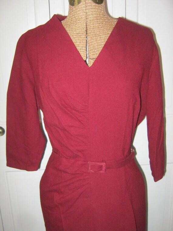 1940s Red Knit Dress