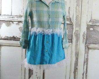 Sale Blue and White Plaid Party Dress Eco Fashion Upcycled Clothing Boho Chic Linen Stretchy Tunic Dress