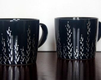 Deep Blue Mug Hand Painted Mug with Silver Wheat Pattern Set of 2