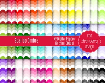 75% OFF Sale - 42 Digital Papers - Scallop Ombre - Instant Download - JPG 12x12 (DP198)
