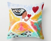 Throw Pillow Pillow Cover Valentines Day Gift  Pillow Case Pillow Art pillow Original Unique Surreal Swans Whimsical Girl Black Swans