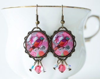 Vintage Lolis - Retro Sparkling Humming bird with a key (Indian Pink)