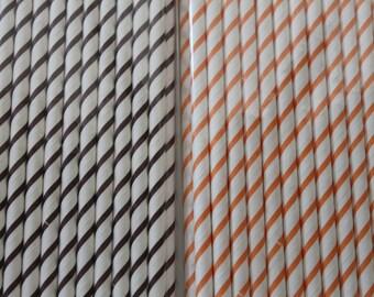 25 Thin Diagonal Fall Paper Straws / Paper Party Wedding Straws / Birthdays / Shower Decor / Wedding Supplies / Party Supplies