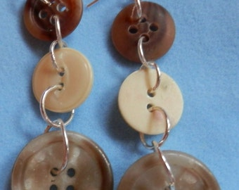 Button and Wire Dangle Earrings