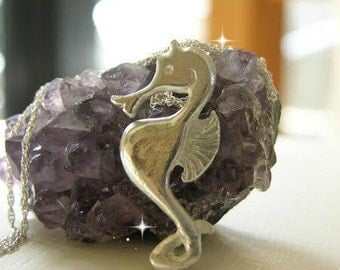 Seahorse Necklace, Smooth Silver, Sea Animals , Nautical Jewelry, Gift Idea