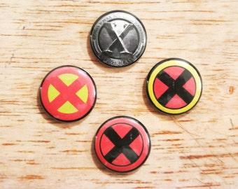 "X-men Logo1"" Button Set of 4 Marvel Universe Wolverine Days of Future Past New WeaponX"