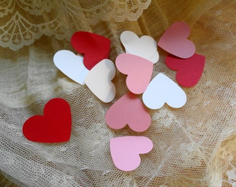 Heart Confetti Pink and White and Red Set of 100 hearts