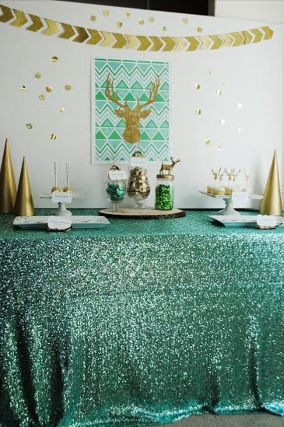 Mint GLITZ Sequin Tablecloth (Available in 8 sizes) We do custom sizes as well!