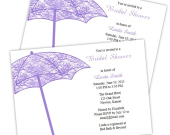 Lacey Umbrella Bridal Shower Invitations - DIY Printable Template - Instant Download - Microsoft Word Format