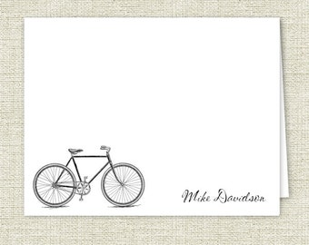 Personalized Note Cards, Man's Bike Stationery - Set of 10